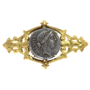 Antique silver Roman coin mounted in antique Victorian brooch