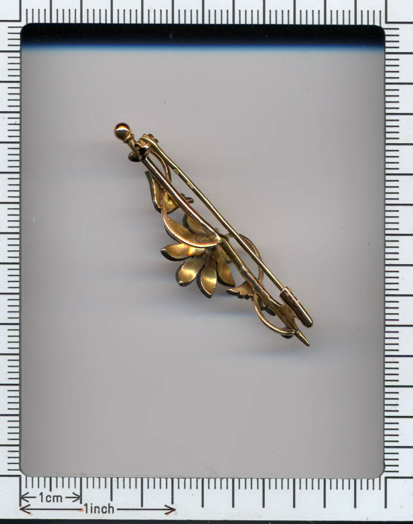 Victorian silver on gold flowery bar brooch