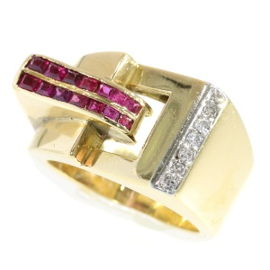 Strong design gold Retro ruby diamond ring