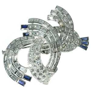 Over 8 Carat Diamonds Platinum Estate Brooch
