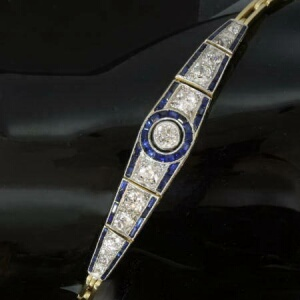 Art Deco diamond blue sapphire articulated bracelet