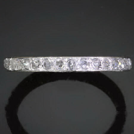 handengraved platinum Art Deco eternity band with rose cut diamonds