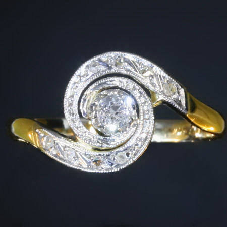late victorian early art nouveau tourbillon ring with old mine cut