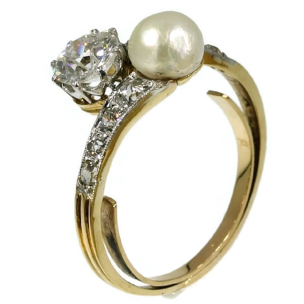 Antique two stone crossover pearl diamond engagement ring by Adin Ant