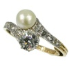 Antique two stone crossover pearl diamond engagement ring