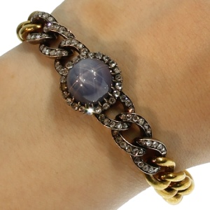 Antique star sapphire link bracelet by Leon Gariod