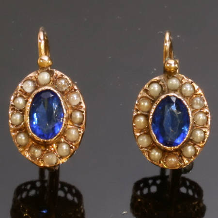 Victorian red gold antique earrings with half seed pearls and blue paste