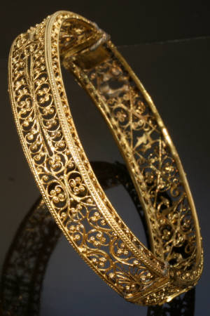 Amazing Gold Filigree Victorian Bracelet From The Austro Hungarian Empire Image 3 Of 7