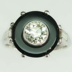 Art Deco diamond engagement ring French jet
