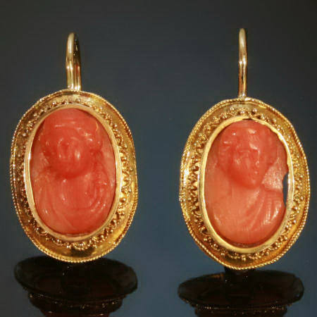 Golden Victorian C Cameo Earrings In Neo Etruscan Style Image 1 Of 2