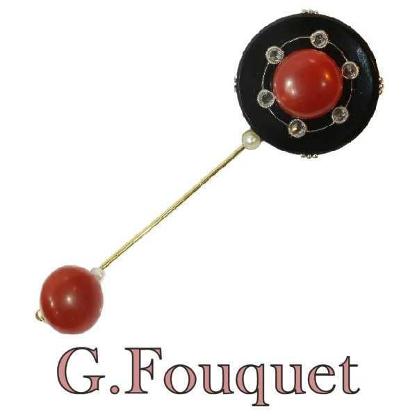 Strong design French Art Deco jabot pin signed G.Fouquet