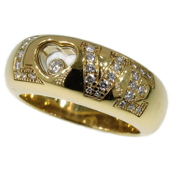Signed Chopard love ring with happy diamond in heart shape and brilliants