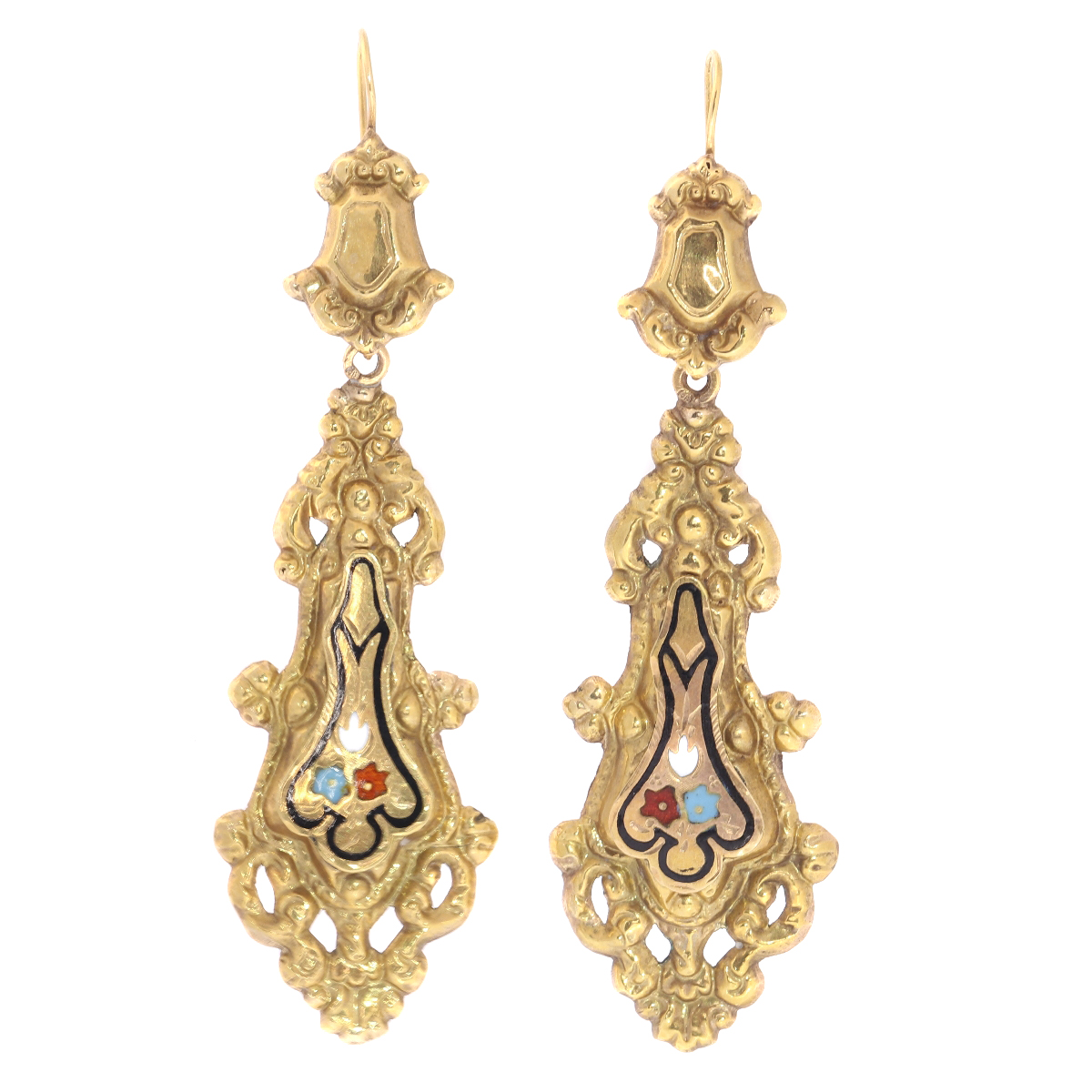 Georgian or Early Victorian long pendant earrings with enamel made in Belgium