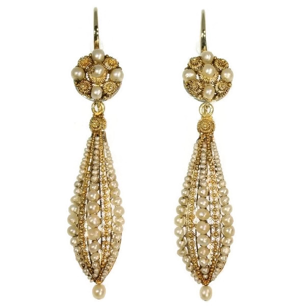 Long pendant antique earrings with filigree work and seed pearls