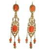 Georgian coral cameo chandelier dangle earrings 18kt red gold