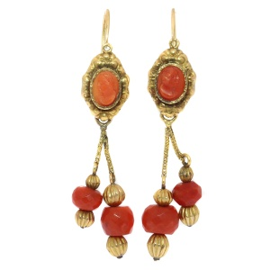 Georgian coral cameo beaded dangle earrings, 18kt yellow gold