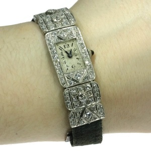 Stylish ladies platinum Art Deco wrist watch with 3.60 crt diamond