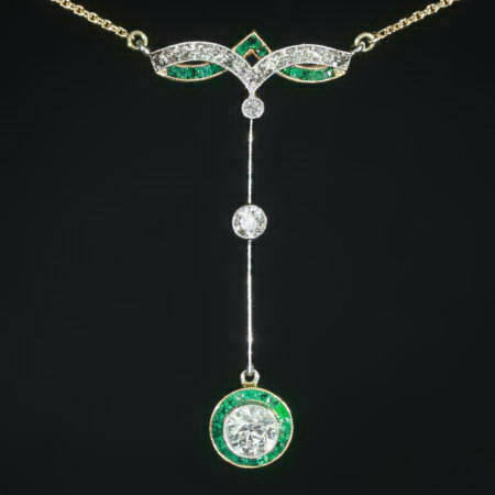 Magnificent art deco diamond and emerald pendant description by magnificent art deco diamond and emerald pendant mozeypictures Choice Image