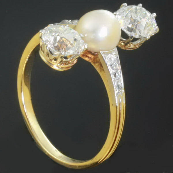 antique three engagement ring pearl