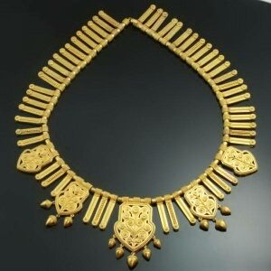 Antique gold filigree choker necklace made in France