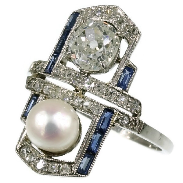 Art Deco pearl diamond engagement ring sapphire