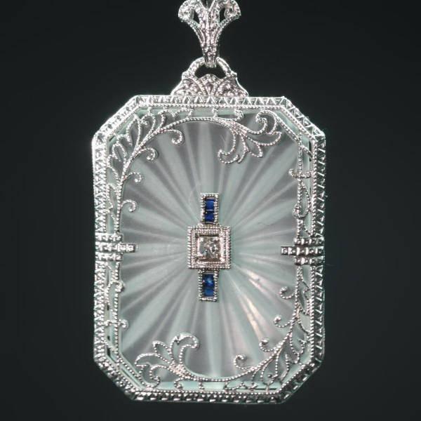 Elegant Rock Crystal Diamond And Shire Edwardian Filigree White Gold Pendant Image 1 Of