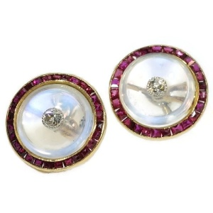Art Deco cuff links with moonstone, old cut diamonds and carre cut rubies