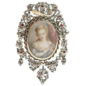Romantic brooch pendant with painted miniature on ivory and paste stones