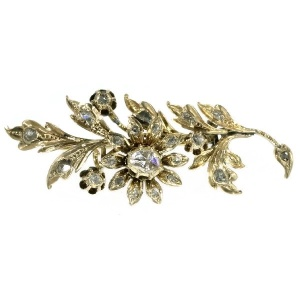 Dutch Victorian gold flower branch brooch covered with rose cut diamonds