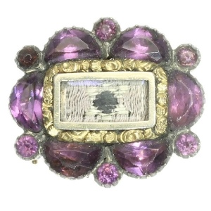 Georgian purple stones and gold handkerchief brooch pin David star human hair