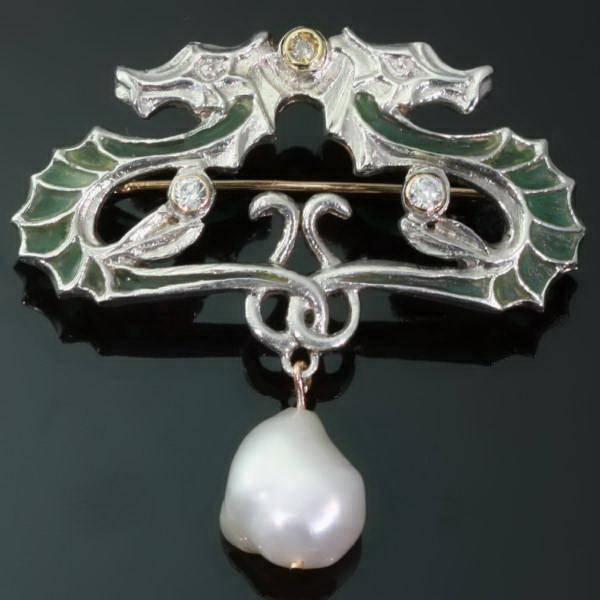 Silver art nouveau jugendstil brooch plique ajour enamel for Art nouveau fenetre