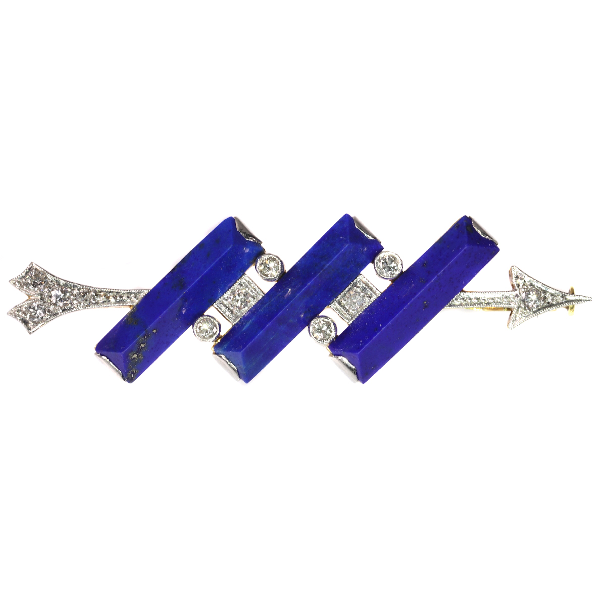 Diamond arrow brooch perforating three solid bars of lapis lazuli
