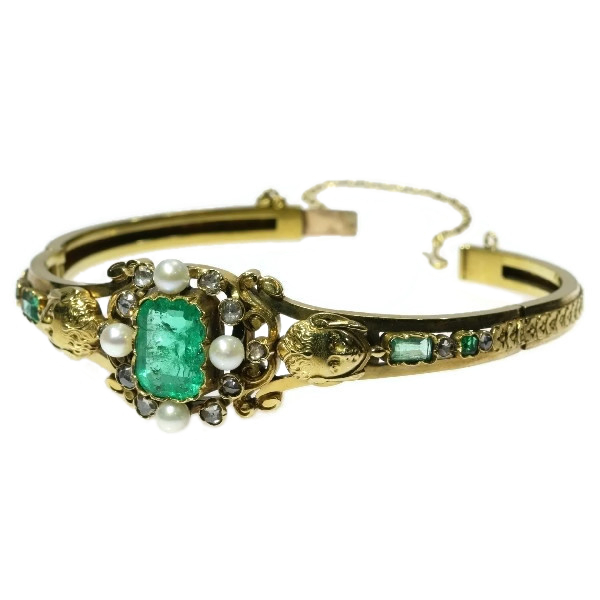 Victorian emerald pearl bangle, original box by Bapst & Falize