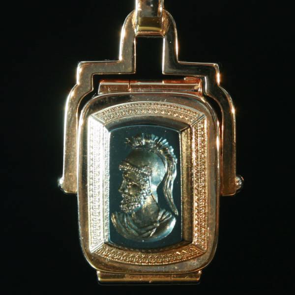 victorian pink gold locket with hematite intaglio of greek