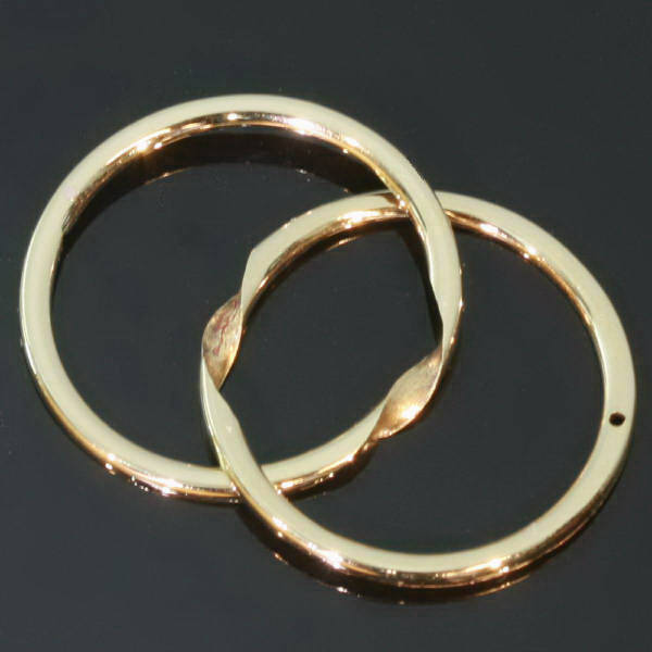 Antique French wedding band hidden system of two bands forming one