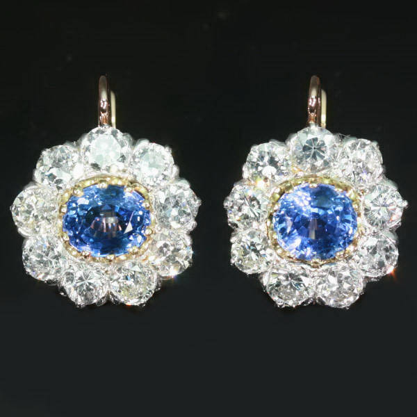 Estate cluster diamond sapphire leverback drop earrings