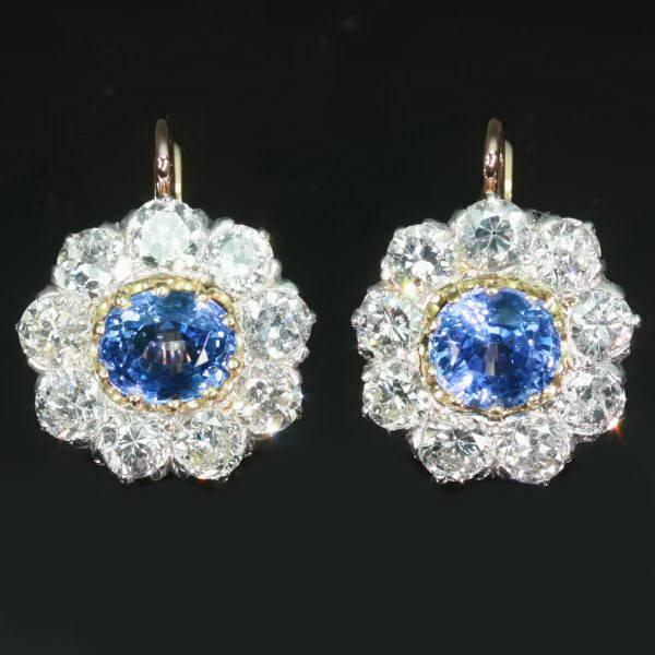 Estate cluster diamond sapphire leverback drop earrings