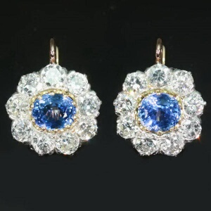 Estate cluster diamond sapphire lever-back drop earrings
