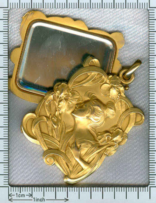 0a9b0684b16 Magnificent Art Nouveau pendant signed E.Dropsy with sliding mirrors (image  8 of 9