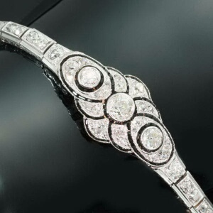 Art Deco diamond platinum flexible bracelet