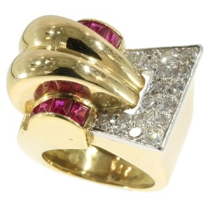 Very strong design handmade Retro ring with diamonds and rubies from the forties