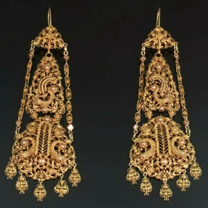 Antique gold filigree dangle earrings, high quality
