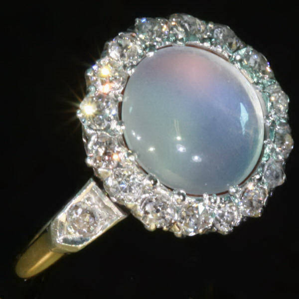 charming late victorian engagement ring with moonstone and old mine cut diamonds image 3 of - Moonstone Wedding Rings