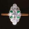 Antique marquise diamond engagement ring emerald