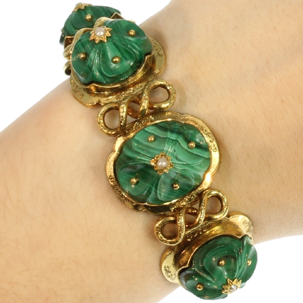 Russian malachite articulated bracelet