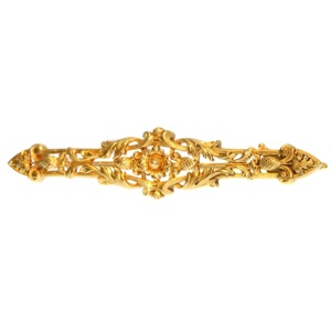 French gold late Victorian early Art Nouveau bar brooch with pineapple motif