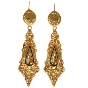 Antique enamel gold dangle earrings, Victorian era