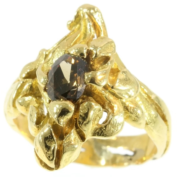 Art Nouveau yellow gold flowery ring diamond, French jewelry