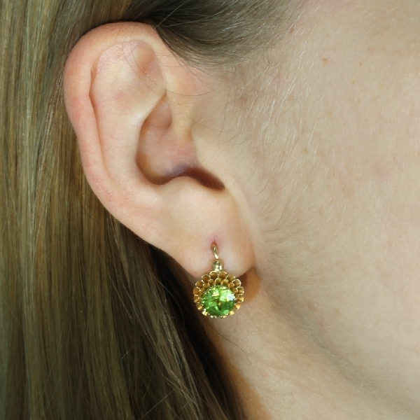 Victorian Green Stones Drop Earrings 18kt Red Gold