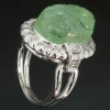 Carved emerald engagement ring diamond 14K white gold